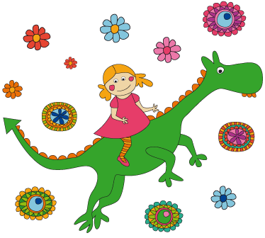 Tenstickers. Drake och blommor vägg klistermärken. Väggklistermärken - en helt fantastisk gibert fina illustration av en flicka på en drake omgiven av blommor. Anti-bubbla vinyl.