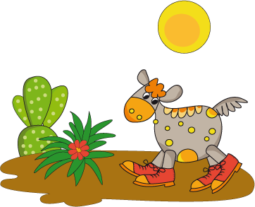 TenStickers. In the Desert Wall Mural. Wall Stickers - Illustration of a donkey with boots walking through the desert under the sun. Ideal for decorating kids rooms or nurseries.