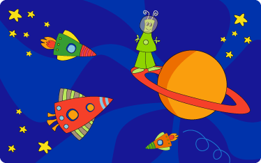 TenStickers. Kids Space Wall Mural. Kids Wall Stickers - Original illustration with an imaginative space theme. An alien on a planet surrounded by space ships, rockets and stars.