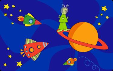 TenStickers. Pictură murală pentru copii. Autocolante de perete pentru copii - ilustrație originală cu o temă de spațiu imaginativ. Un extraterestru de pe o planetă înconjurat de nave spațiale, rachete și stele.