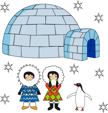 TenStickers. Eskimo Scene Sticker. Original children's decal by illustrator Fina Giber of a pair of cute eskimos accompanied by a penguin and igloo.