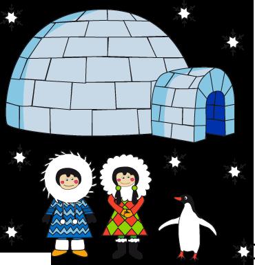 TenStickers. Eskimo iglo sticker. Kinderkamer muursticker waar je het koud van krijgt! Je ziet een Eskimo meisje en een Eskimo jongen samen met een pinguïn voor een iglo staan.