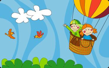 TenStickers. Adesivo cameretta volando insieme. Sticker decorativo che raffigura due bambini mentre volano a bordo di un pallone aerostatico.