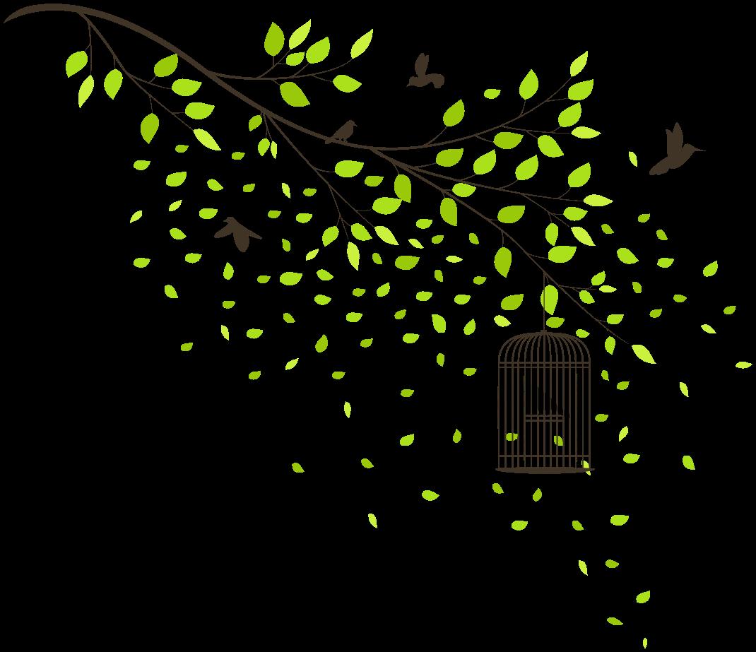 TenStickers. Fugle, der flyver over grønt træ vægoverføringsbillede. Dekorative flyvende fugle på træoverføringsbillede. På designet ses sorte fugle svæve omkring de grønne blade af en trægren.
