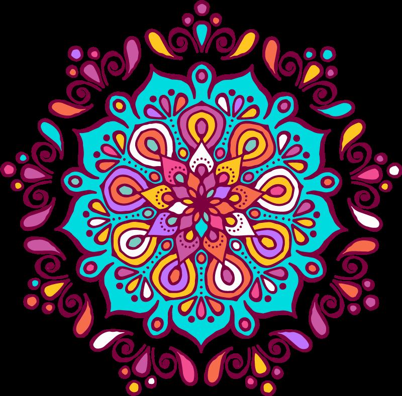 TenVinilo. Vinilo mandala pared floral multicolor. Vinilo para pared de mandala con estampado de flores para el hogar o cualquier otro espacio. Autoadhesivo y duradero ¡Envío a domicilio!