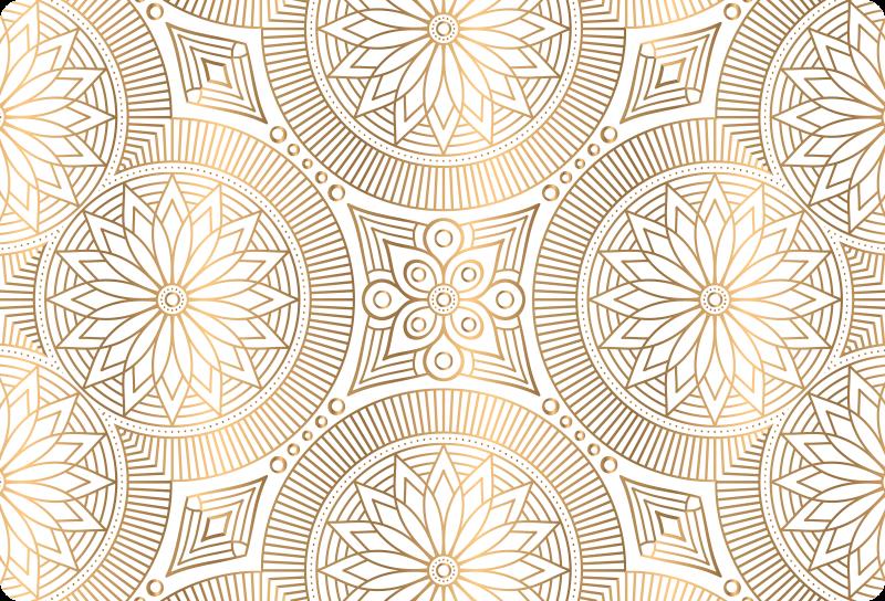 TENSTICKERS. 金色の色調のマンダラのラップトップスキンデカール. ラップトップの表面を装飾するための黄金色のマンダララップトップデカール。適用が簡単で耐久性に優れています。ノートパソコンのあらゆる次元で利用できます。