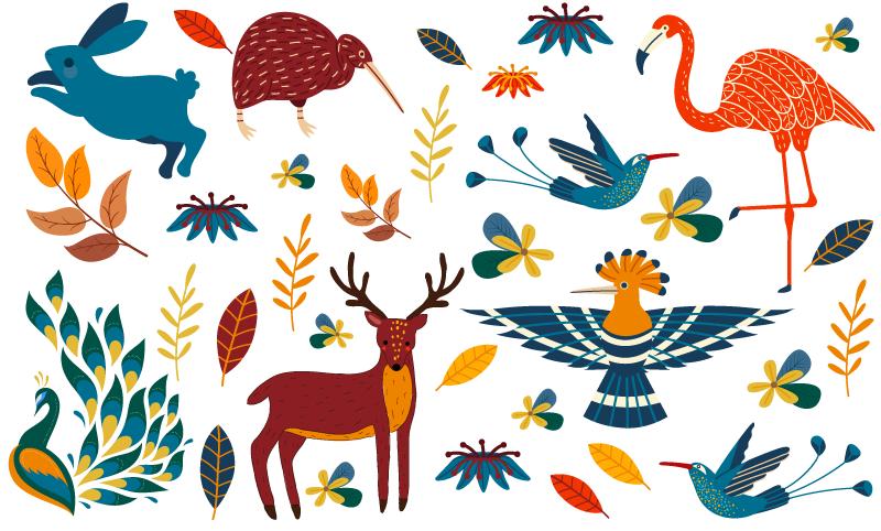 TENSTICKERS. 天ナンゴ風動植物スタンプ. テナンゴ風の装飾的な動物や植物のステッカー。平面を飾ります。孔雀、鳥、トレナゴ色の植物が特徴です。