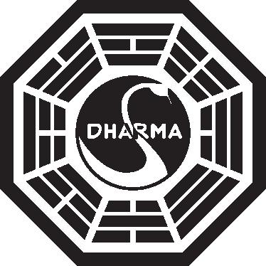 """TenStickers. Sticker Lost logo Dharma. Een muursticker met het logo van Dharma uit de serie """"Lost"""". De fans van lost onder ons willen vast deze muursticker hebben."""