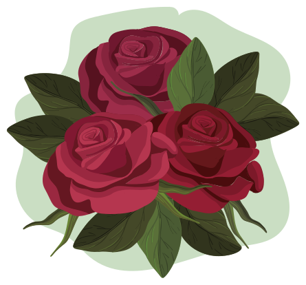 TenVinilo. Vinilo rosas rojas en ramo originales. Hermoso vinilo pared dormitorio de ramo de rosas para darle un toque ornamental a tu cuarto. Elige medidas ¡Envío a domicilio!