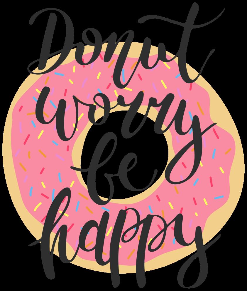 """TenVinilo. Frase para la pared sé feliz con rosquilla rosa. Frase vinilo pared """"don't worry be happy"""" con donuts decorativo para que decores tu casa de forma original y llenarla de motivación ¡Envío a domicilio!"""