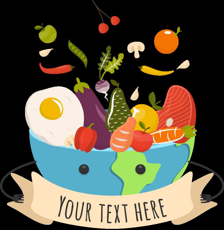 TenVinilo. Vinilo cocina cuenco comida con texto personalizado. Vinilo decorativo para cocina comida con diferentes frutas y verduras en un cuenco. Diseño con texto personalizable ¡Envío a domicilio!