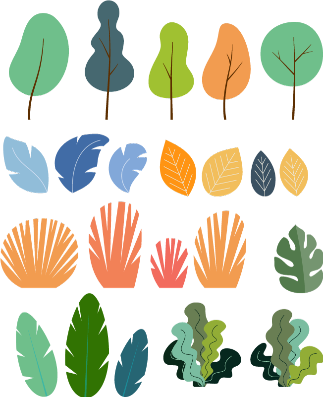 TENSTICKERS. 熱帯植物の葉パック植物壁デカール. 選択したスペースを飾るための装飾的なカラフルなモンスター植物ステッカーのパック。適用が簡単で、高品質のビニールで作られています。
