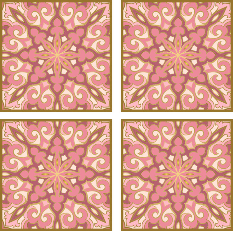 TENSTICKERS. ピンクの花のタイル転送の美しいパック. バスルームとキッチンスペースのピンクの花柄のタイルステッカーの装飾的なパック。リビングルームや他の選択したスペースにも適しています。