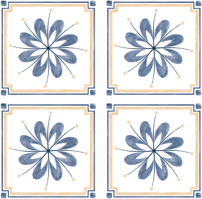 TENSTICKERS. 花柄タイルトランスファーデカールのパック. グレーとブルーのカラーで作成された装飾的な花模様のタイルデカール。オリジナルで防水性があり、シワになりにくいです。