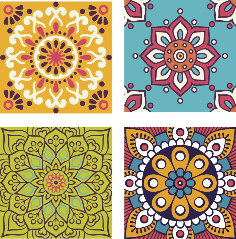 TenVinilo. Azulejos vinílicos mandalas multicolor. Vinilos para cocina azulejos de mandala para decorar cualquier espacio del hogar. Apto para baño y cocina ¡Envío a domicilio!