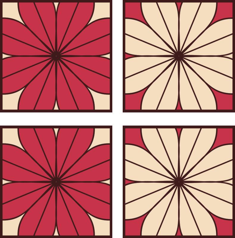 TenVinilo. Azulejos vinílicos patrón floral colorido. Azulejos vinilicos con patrón de flores en color gris y rojo. El producto es impermeable, original y resistente al agua ¡Envío a domicilio!