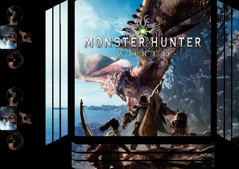 TenVinilo. Vinilo PS4 mundo de cazadores de monstruos. Personaliza tu skin ps4 con este diseño de cazadores de monstruos de alta calidad hecho  con material  de alta calidad ¡Envío a domicilio!