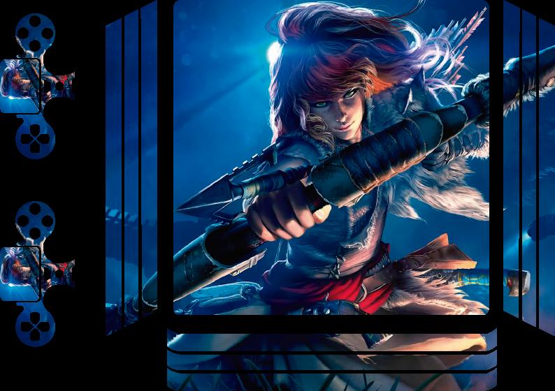 TenVinilo. Vinilo PS4 Horizonte. Vinilo ps4 realista de videojuego de Horizon con la imagen original de una luchadora disparando una flecha ¡Envío a domicilio!