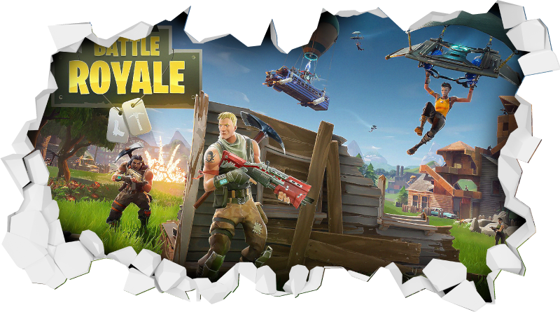 TenStickers. Fortnite battle royal 3D visual effects wall decal. Decorative battle royal royal combat 3D visual effect decal featured with it combating characters in a realistic appearance. It is easy to apply.