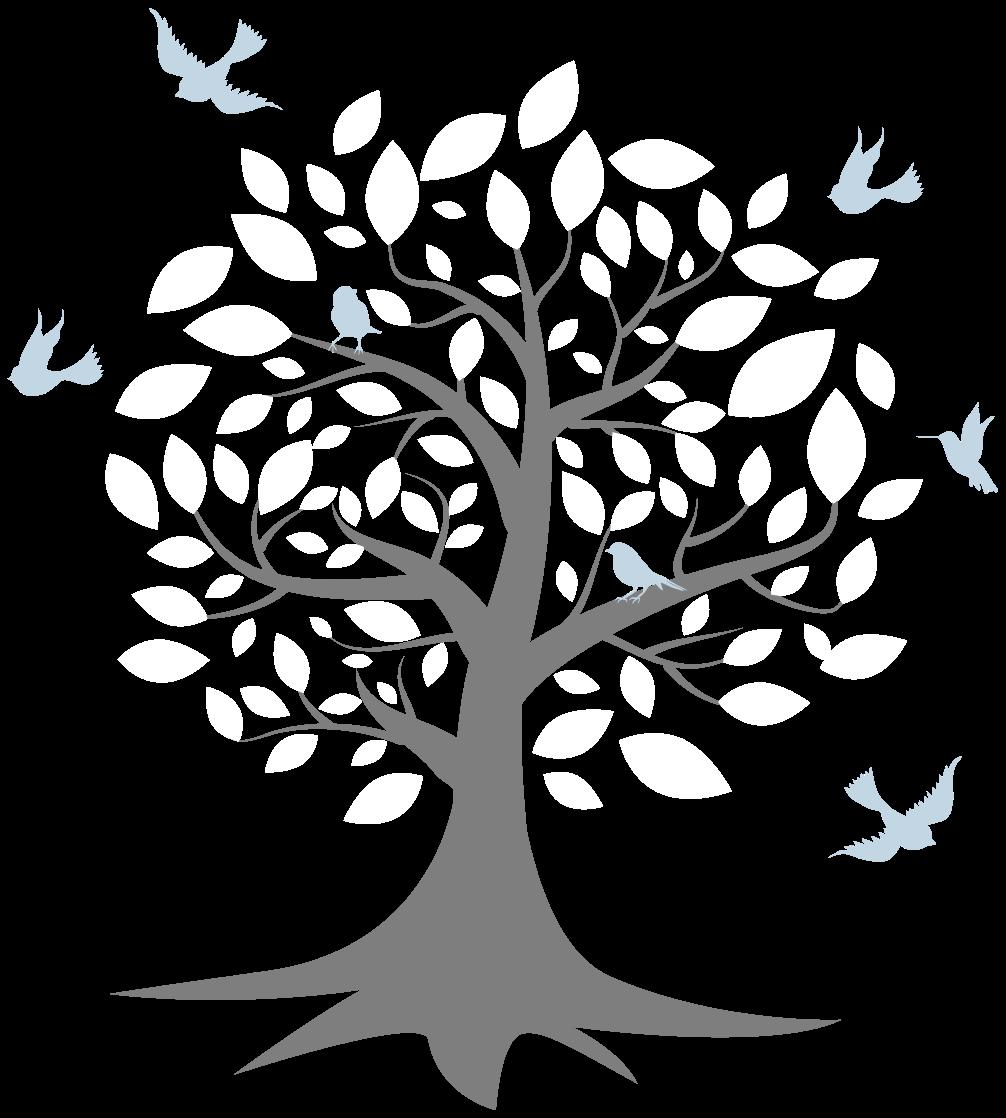 TenVinilo. Vinilo bebé árbol nórdico con pajaritos. Un precioso vinilo habitación bebé nórdico con árbol con hojas blancas y pájaros de color azul volando ¡Envío a domicilio!