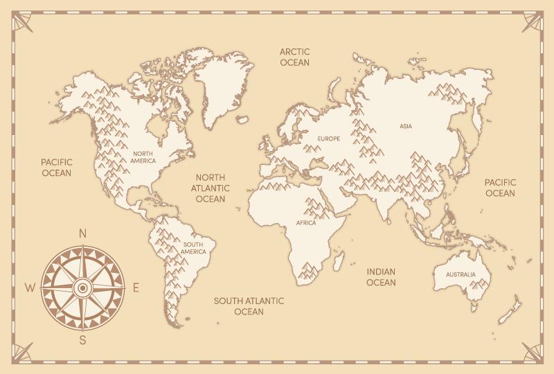 TenVinilo. Vinilo mapamundi niños vintage con brújula. Vinilo mapamundi niños con fondo vintage y con brújula con los nombres de océanos y continentes. Fácil colocación ¡Envío a domicilio!