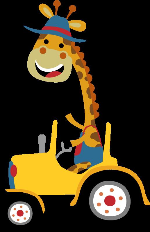 TenVinilo. Vinilo para niños jirafa sobre tractor amarillo. Vinilo animales infantiles con una jirafa feliz sobre un tractor amarillo para decorar el cuarto de tu hijo. Fácil colocación ¡Envío a domicilio!