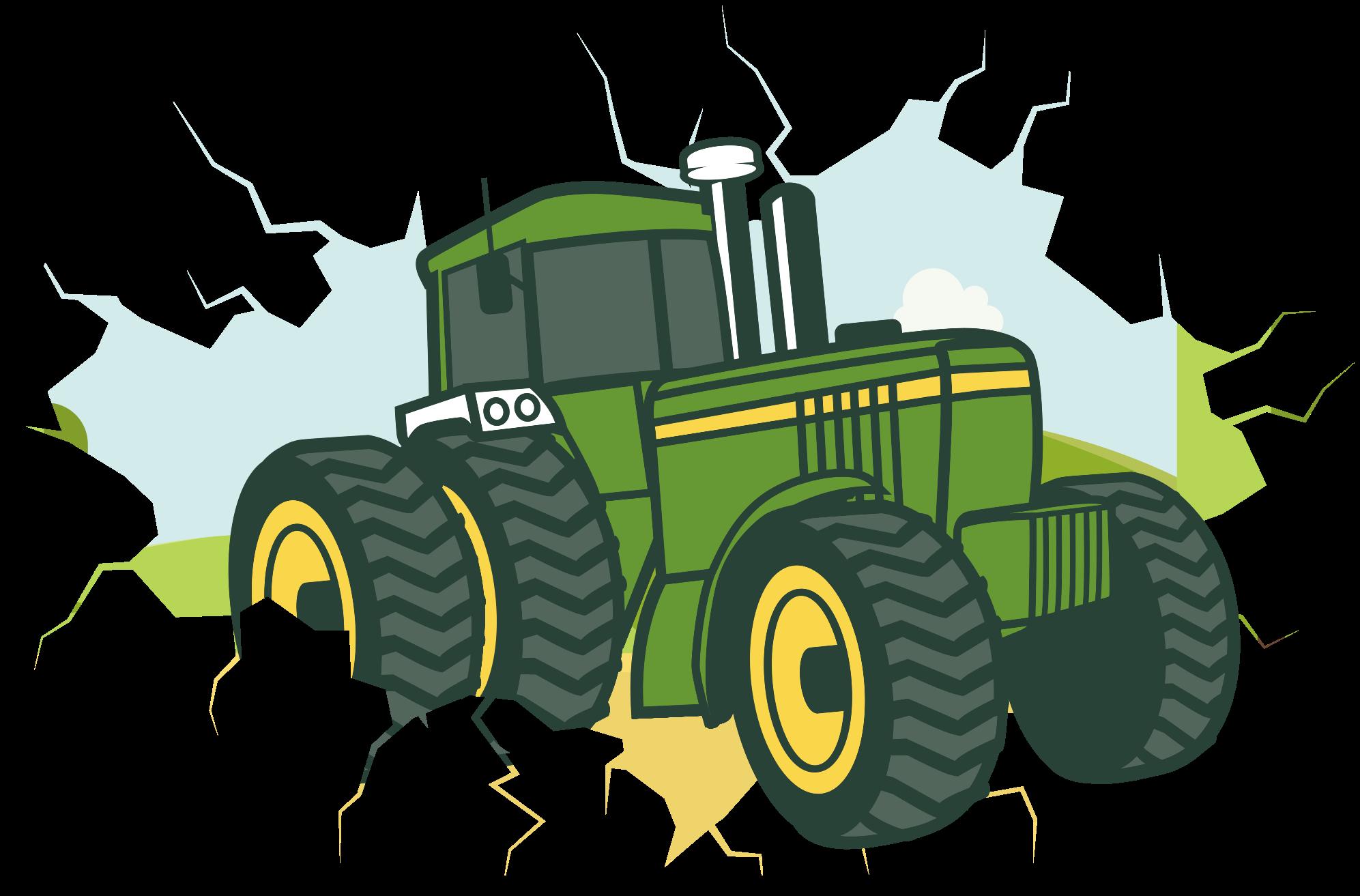 TenStickers. Traktor 3d john deere ilustrace wall art obtisk. Traktor 3d nálepka ilustrace john deere. Vhodné pro dekoraci dětského pokoje, snadno se nanáší a je vysoce kvalitní.
