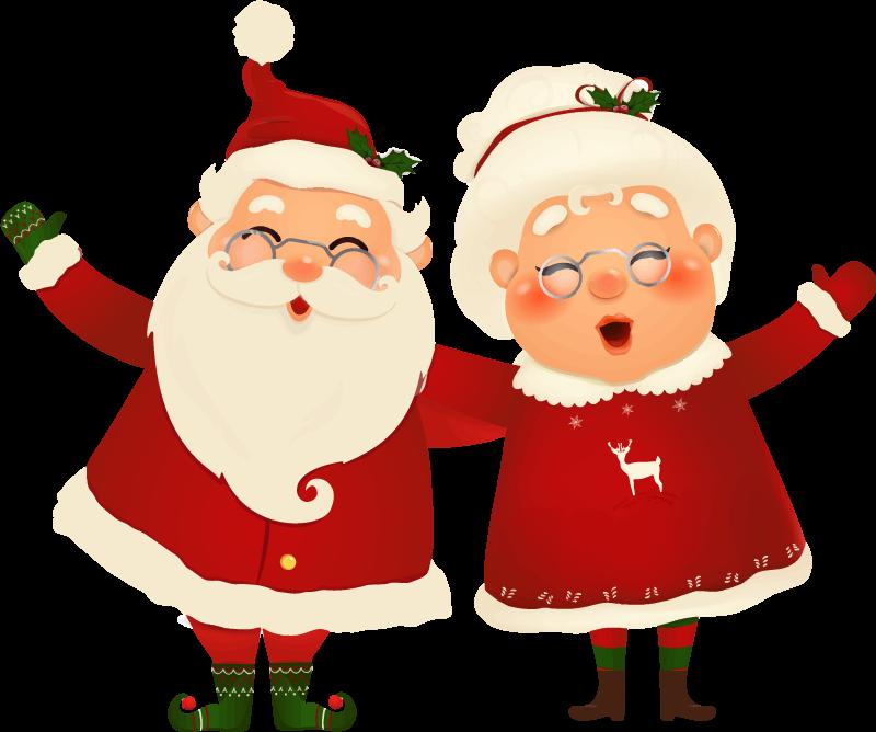 Adesivi Babbo Natale.Adesivo Natalizio Babbo Natale Con Moglie Tenstickers