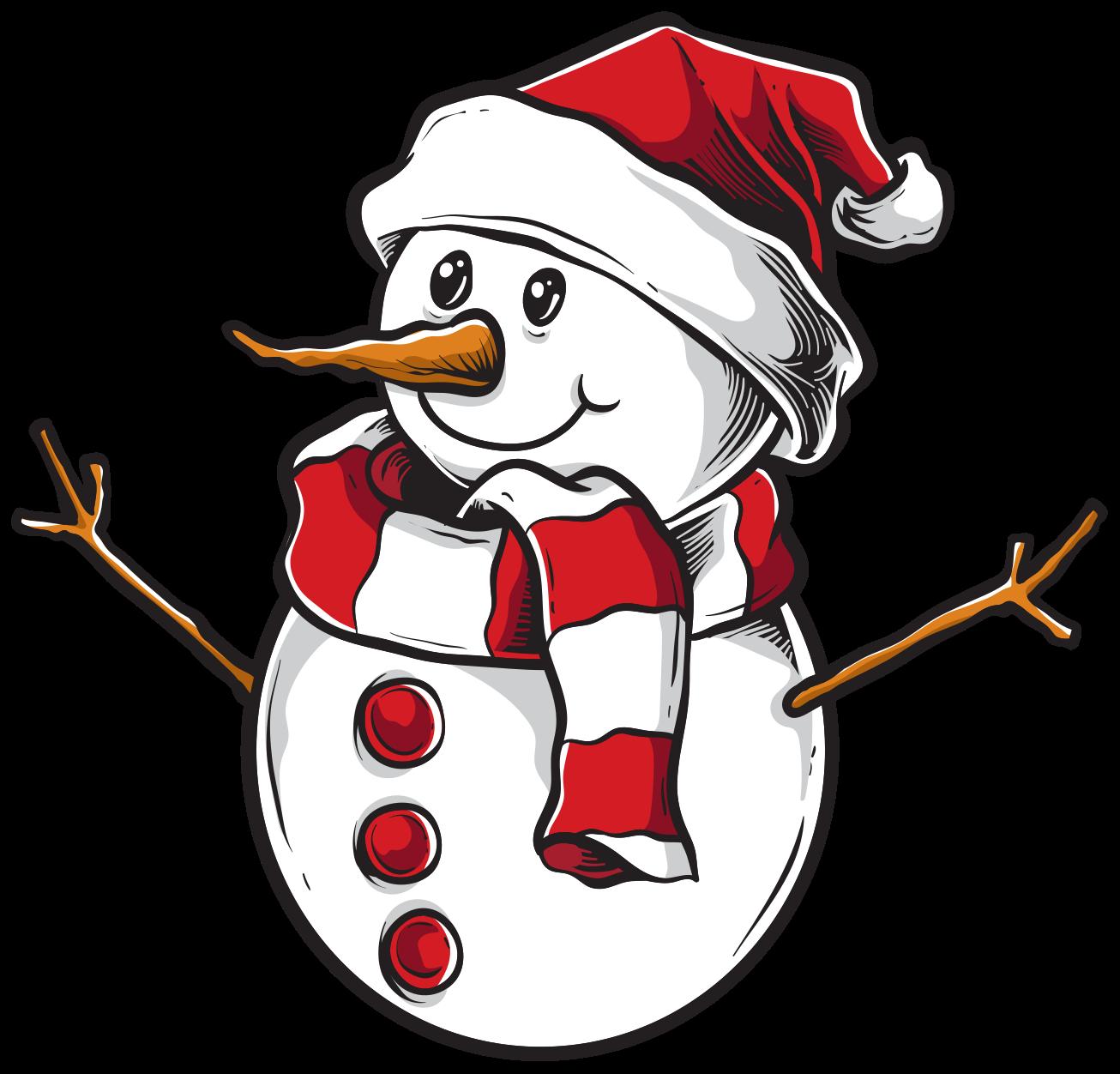 TenVinilo. Pegatina navidad muñeco de nieve de Papá Noel. Pegatina navideña de muñeco de nieve de aspecto feliz hecho de alta calidad y fácil de aplicar. Elige el tamaño ¡Envío a domicilio!