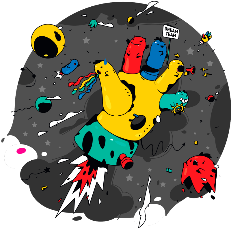 TenVinilo. Vinilo niños colorido caos espacial. Vinilo decorativo infantil con tema urbano para niños y adolescentes. El diseño está hecho con una mano en el espacio ¡Envío a domicilio!