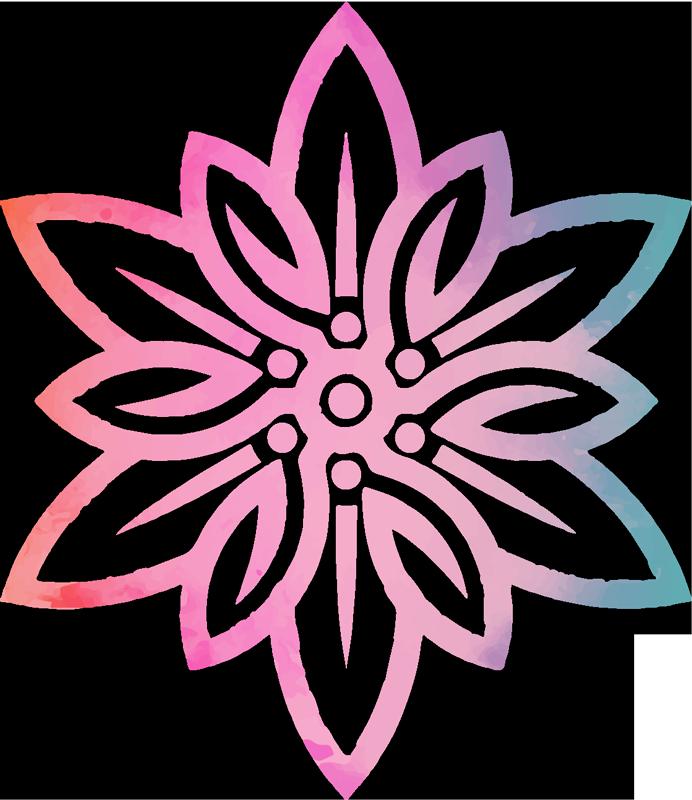 TenVinilo. Vinilo decorativo flores Edelweiss de valor y coraje. Vinilo de flores Edelweiss realizado en colores lila y rosa para decorar tu casa de forma brillante y bonita ¡Envío a domicilio!