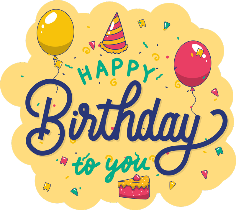 """TenVinilo. Pegatina cumpleaños para botella con globos. Pegatina feliz cumpleaños para botella de vodka. Diseño con fondo amarillo, globos y la frase """" happy birthday to you"""" ¡Envío a domicilio!"""