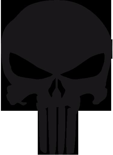 TenVinilo. Vinilo decorativo logo the Punisher. Emblema con forma de tétrica calavera del Vengador, un cómic que se hizo película a principios de los años 2000. Vinilo para los fans del tebeo o el film.