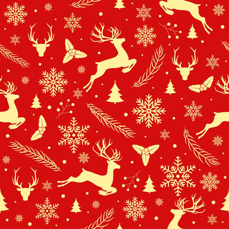 TENSTICKERS. エレガントな赤と金のトナカイのクリスマスウォールステッカー. ヒイラギ、トナカイ、雪片、クリスマスツリーなどのクリスマスをテーマにしたオブジェクトのパターンを備えたクリスマスステッカー。