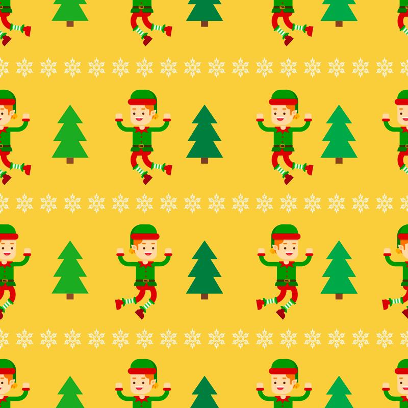 TENSTICKERS. おもちゃのエルフのクリスマスウォールステッカー. エルフとクリスマスツリーが交互に並び、その間に雪片が並ぶパターンが特徴のクリスマスステッカー。