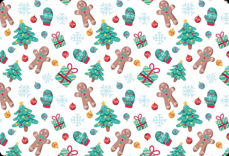 TENSTICKERS. ジンジャーブレッドマンとノートパソコンのステッカーをプレゼント. 雪のように白い背景にジンジャーブレッドマン、プレゼント、手袋、クリスマスツリーの素敵なパターンが特徴のクリスマススキン。