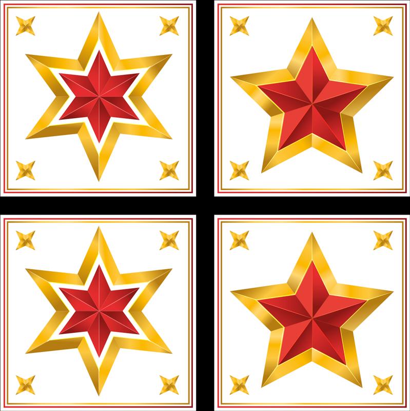 TENSTICKERS. ゴールドクリスマススタータイルクリスマスウォールステッカー. このデザインは、白い正方形の背景に金と赤の星が特徴です。正方形の隅には4つの小さな星があります。サイズをお選びください。