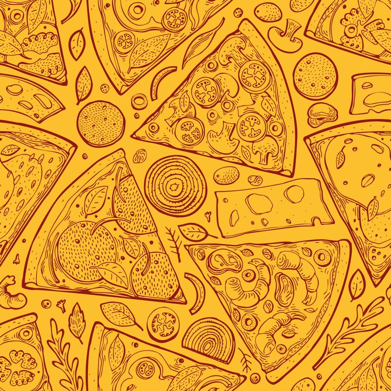 TENSTICKERS. 家具用イタリア料理デッサンデカール. この素晴らしい家具ステッカーのデザインは、黄色の背景にピザやチーズなどのさまざまなイタリア料理を備えています。