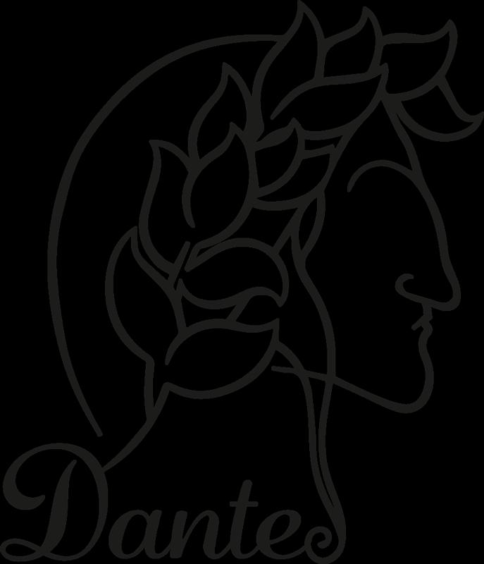 TenStickers. Muurstickers figuren Dante alighieri. Personage persoonlijkheid wall art zelfklevende sticker afgebeeld als dante alighieri, een italiaanse dichter. Een ontwerp voor liefhebbers en fans van dante alighieri.