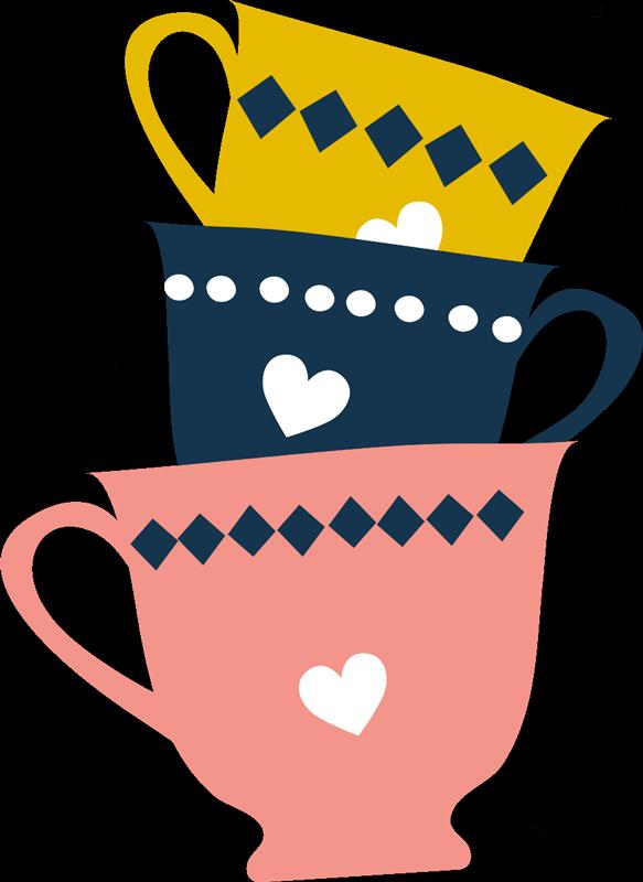TenVinilo. Vinilo cocina bebida 3 tazas de té . Vinilo para cocina de 3 tazas de té apiladas en color amarillo, negro y beige. Perfecto para una cocina o un comedor ¡Envío a domicilio!