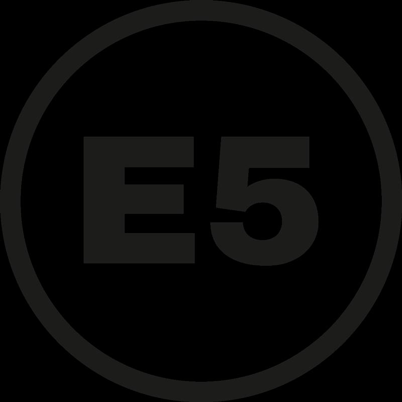 TenStickers. Autostickers E5. E5 iconische auto sticker voor voertuig om het brandstofmengsel voor uw voertuig te illustreren. Het is klevend en gemakkelijk aan te brengen.
