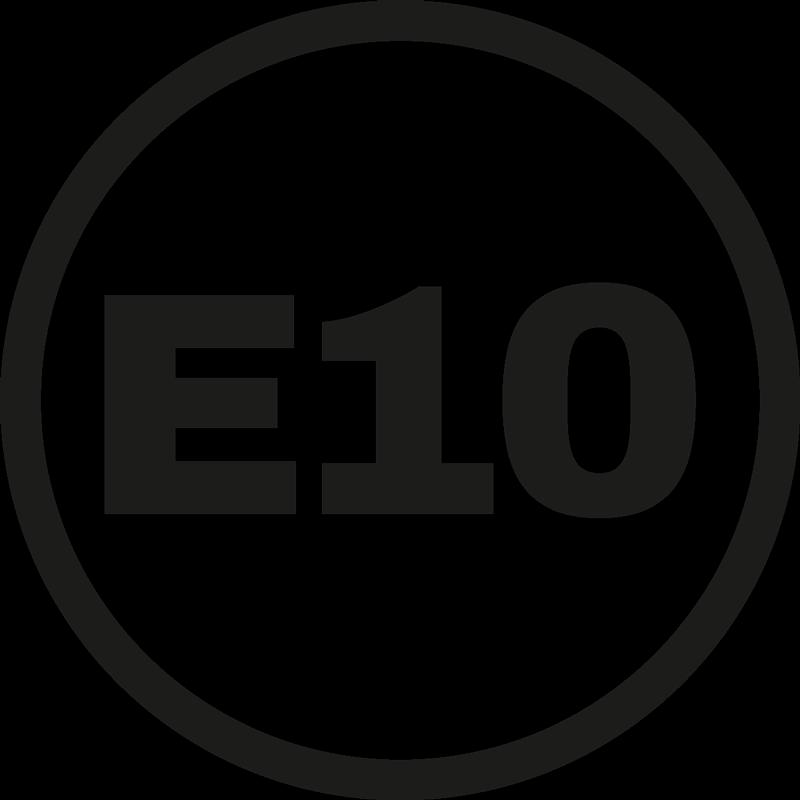 TenStickers. Autostickers E10. E10 iconische autosticker decoratie voor auto om het mengsel van ethanol voor uw auto te illustreren. De kleur is aanpasbaar.