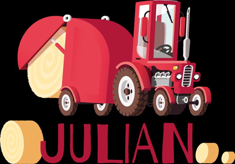 TenStickers. Stickers drukken Tractor met naam. Gepersonaliseerde naam tractor sticker. Een geschikt illustratief ontwerp voor de ruimte van een jongen. Het product is origineel en in elke gewenste maat leverbaar.