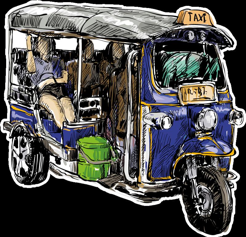 TENSTICKERS. トゥクトゥクカラフルバイクデカール. あなたのスペースを飾るために装飾的なカラフルな都市トゥクトゥク車両ステッカー。製品は簡単に適用でき、必要なサイズで利用できます。