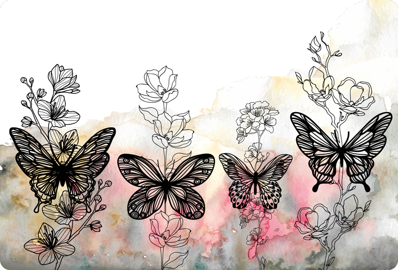 TENSTICKERS. 蝶アートラップトップステッカー. かなりカラフルな蝶で作成された装飾的なラップトップステッカーデザイン。あらゆるラップトップ寸法で利用でき、適用が非常に簡単です。