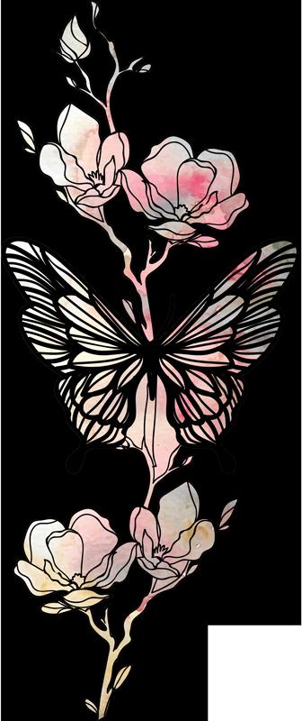 TenStickers. Vlinder stickers Vlinder art. Personaliseer elke muur ruimte met de schoonheid van deze mooie decoratieve vlinder muursticker gemaakt in verschillende kleuren. Geschikt voor elk plat oppervlak.