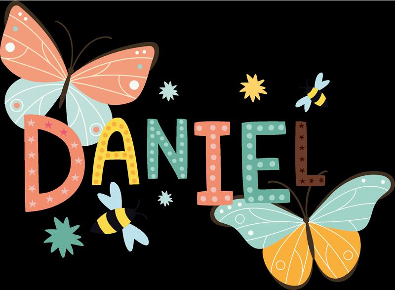 TENSTICKERS. 蝶とミツバチのカスタムステッカー. 子供のためのパーソナライズされた名前の蝶のデカール。このデザインは、子供の寝室のあらゆる平面に適用できます。簡単に適用できます。
