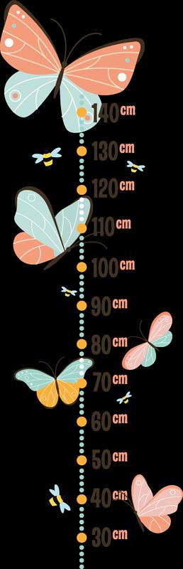 TENSTICKERS. 蝶とミツバチの壁のステッカー. 蝶とミツバチのデザインが付いた子供用身長チャートデカールを購入してください。どんな子供にも愛され、愛されるデザイン。