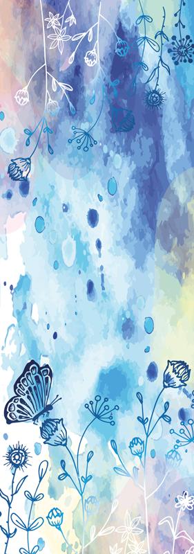 TENSTICKERS. 花の描画と蝶の冷蔵庫デカール. 植物と蝶を含む抽象的な青い塗られた背景のデザインと装飾的な防水冷蔵庫ドアドアデカール。