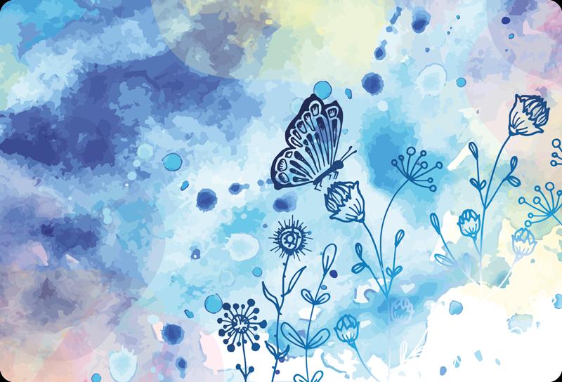 TENSTICKERS. 花のドローと蝶のラップトップのデカール. ラップトップのための蝶のデカールで装飾的な青い抽象絵画。適用が簡単で、しわ効果に耐性があり、マット仕上げで耐久性があります。